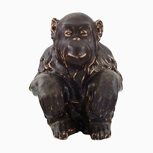 Stoneware Figure Sitting Monkey by Jean Rene Gauguin for Bing & Grondahl, 20th Century