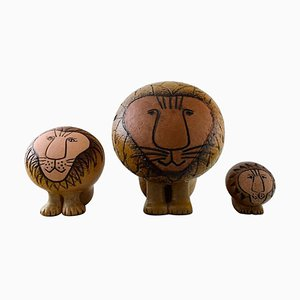 Three Lions Pottery by Lisa Larson for Gustavsberg, 20th Century, Set of 3