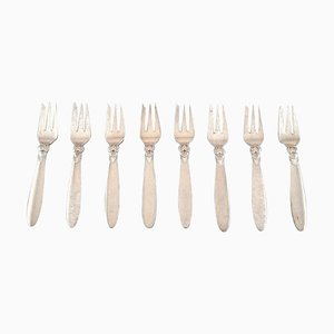 Sterling Silver Cactus Pastry Forks from Georg Jensen, 1940s, Set of 8