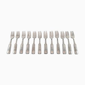 Silverware Number 2 Pastry Forks in Silver by Hans Hansen, 20th Century, Set of 12