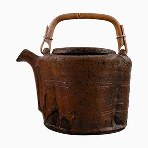 Teapot of Stoneware with Handle in Wicker by Gutte Eriksen, 1960s