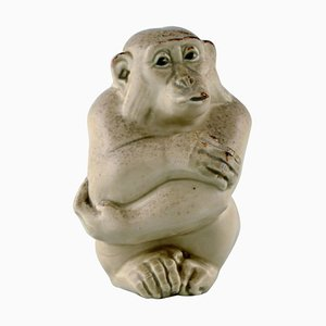 Affe aus Steingut von Knud Kyhn für Aluminia & Royal Copenhagen, 1920er