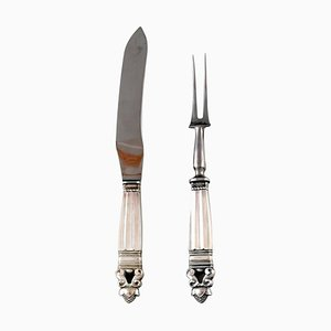 Acorn Carving Set of Sterling Silver by Johan Rohde for Georg Jensen, 1940s, Set of 2