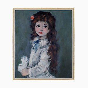 Portrait of a Girl with Long Hair Oil Painting on Canvas, 1960s