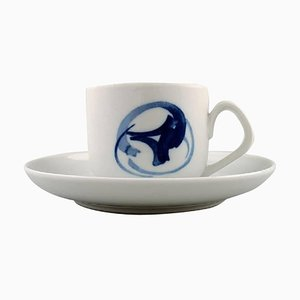 Blue Koppel Coffee Cups and Saucers from Bing & Grondahl, 20th Century, Set of 20