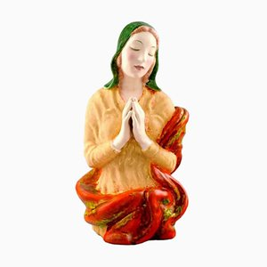 Austrian Praying Woman Porcelain Figure from Keramos, 1940s