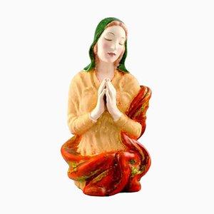 Austrian Praying Woman Porcelain Figure from Keramos, 1940s
