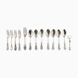 American Silver Rich Ornamentation Cutlery by Wallace Sterling and W. Rogers, 20th Century, Set of 13