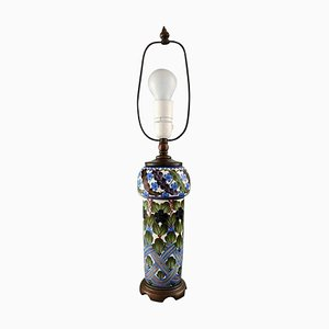 Antike Handbemalte Faience Tischlampe mit Blumenmotiven von Alumina