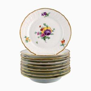 Saxon Flower Lunch Plates from Royal Copenhagen, 1927, Set of 10