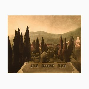 The View from Villa d'Este Mezzotint by Peter Ilsted, Early 20th Century