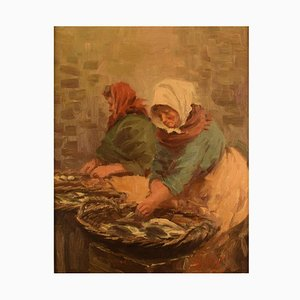 Fishmongers Oil on Canvas by S. C. Bjulf, 1940s