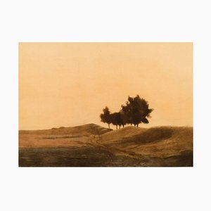 Landscape Mezzotint in Color by Peter Ilsted, Early 20th Century