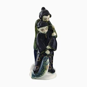 Japanese Couple Porcelain Figurine by Nils Emil Lundstrom for Rörstrand, 1920s