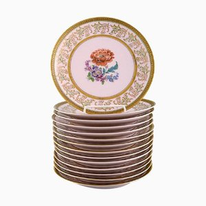 Decorative Plates in Hand-Painted Porcelain by Johann Haviland for Bavaria, 1930s, Set of 14