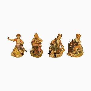 German Dresden Porcelain Figurines in Overglaze Technic, Early 20th Century, Set of 4