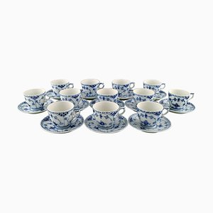 Blue Fluted Half Lace Coffee Cups with Saucers Number 1/756 from Royal Copenhagen, 1970s, Set of 24
