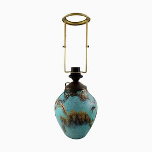 Art Deco Green Patinated Bronze with Gold Decoration Ikora Table Lamp from WMF