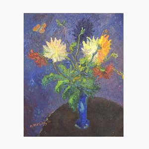 Oil on Canvas Flower Bouquet on Table Painted in Modernist Style, 1950s
