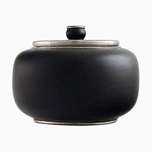Art Deco Ceramic Lidded Jar with Silver Inlay by Gunnar Nylund for ALP Lidköping, 1930s
