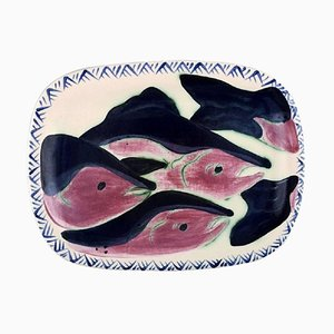 Alaska Ceramic Dish Decorated with Fish by Kate Maury, 2001