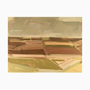 Modernistische Landschaft Öl auf Leinwand von Frans Vester Pedersen