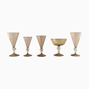 Art Deco Glasses in Mouth Blown Art Glass from Barovier & Toso, 1940s, Set of 5