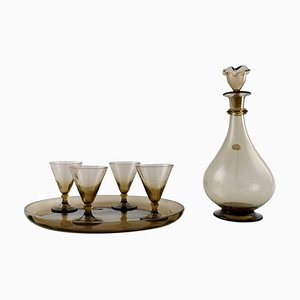 Art Deco Art Glass Liqueur Set with Carafe by Simon Gate for Orrefors, 1950s, Set of 6
