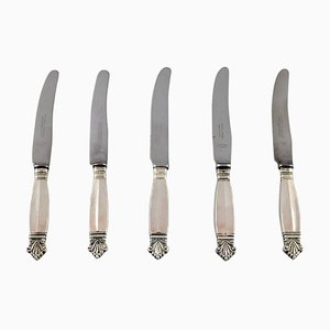 Antique Acanthus Sterling Silver Fruit Knives from Georg Jensen, Set of 5