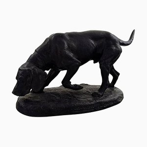 Danish Model Number 729 Terracotta Hound on Socket from Ipsens, 1910s