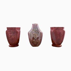 Vasen mit Glanz Glasur von Karl Hansen Reistrup für Kähler, 1920er, 3er Set