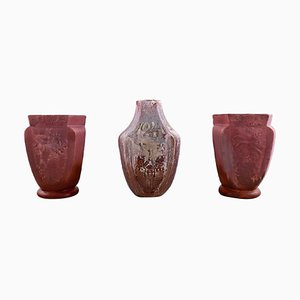 Vases with Luster Glaze by Karl Hansen Reistrup for Kähler, 1920s, Set of 3