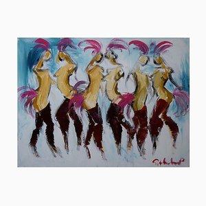 Acrylic on Canvas Cancan Dancers by Göran Hausenkamp, Late 20th Century