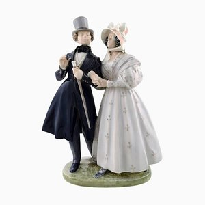 Large Evening Walk in Tivoli Gardens Figurine from Royal Copenhagen, 20th Century