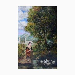Park Landscape Oil on Canvas, 1900s