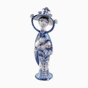 Figurine Automne en Céramique Bleue par Bjørn Wiinblad, 1979