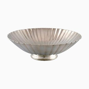 Large Art Deco Sterling Silver Bowl in Fluted Style from Georg Jensen, 1940s