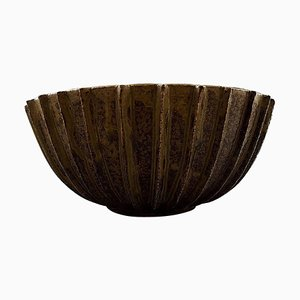 Large Bowl of Stoneware with Fluted Body with Brown-Green Glaze by Arne Bang, 1940s