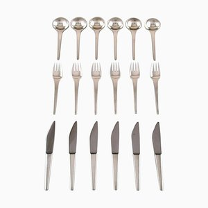 Caravel Breakfast Service in Sterling silver from Georg Jensen, 1940s, Set of 18