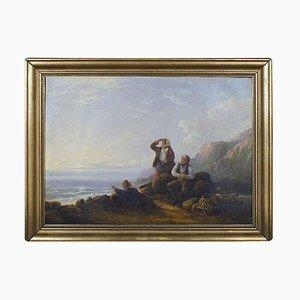 Costa rocciosa con conchiglie e cesti di William I Shayer, XIX secolo