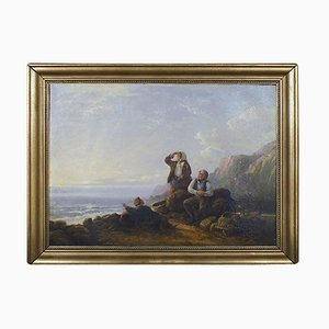 Rocky Coast with Seashell Gatherers and Their Baskets by William I Shayer, 19th Century