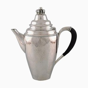 Antique Coffee Pot in Sterling Silver with Ebony Handle from Georg Jensen