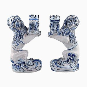 Large Lion Candleholders by Emile Gallé for Nancy St. Clement, Set of 2