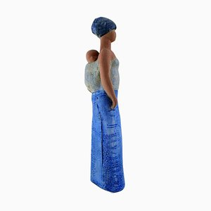 Swedish Large Figurine Mother Carrying Child by Lisa Larson for Gustavsberg, 20th Century