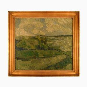 Modernistische Landschaft Öl auf Leinwand von Poul Ekelund, 1950er