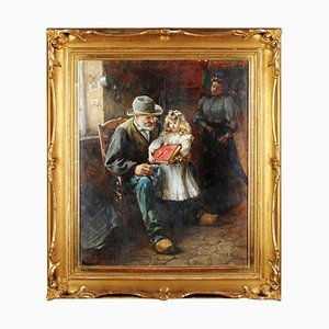 Interior Grandfather and Child Oil on Canvas, 1920s
