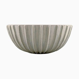 Stoneware Bowl with Fluted Corpus by Arne Bang, 1930s