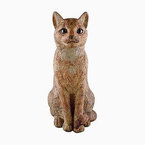 Large Ceramic Cat Sculpture by Gudrun Lauesen for Royal Copenhagen, 1970s