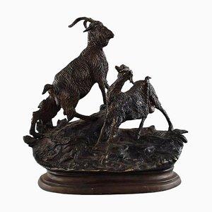 Scultura Jules Moigniez in bronzo di capra su base ovale