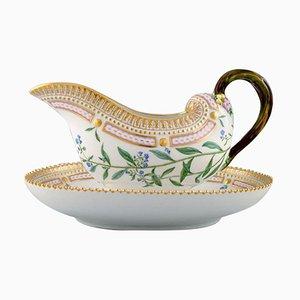 Royal Copenhagen Porcelain Flora Danica Sauce Boat, Hand-Painted with Flowers, 1954
